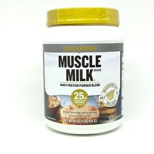 Muscle Milk Unflavored Whey Protein Powder Blend Unflavored 16 oz Exp 09/2021