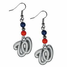 Washington Nationals Dangle Earrings (Fan Bead) MLB Licensed Jewelry