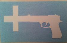 NINE INCH NAILS  White Cross Gun RUB-ON car window STICKER NEW OFFICIAL MERCH