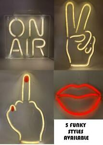 Novelty Battery Powered Wall Light LED Lips/Middle Finger/Peace Hand/On Air/Eye