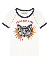 7e5a499fae85 New Gucci Blind for Love Print Cotton-Jersey Cat Shirt Size S $980.00 *Sold