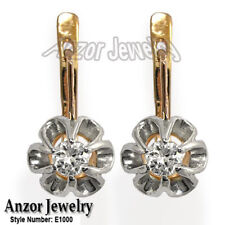White Sapphire 14k Solid Rose & White Gold Russian Style Earrings  #E1000