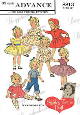 for 12 inch dolls such as shirley temple, clothes sewing pattern