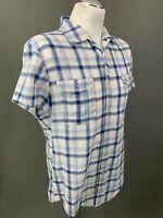 HUGO BOSS Mens Blue Check Short Sleeved SHIRT - Size L Large