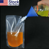 US 9x Clear Reusable Plastic Liquor Pouch Bags Concealable 235/423/1000ml Funnel