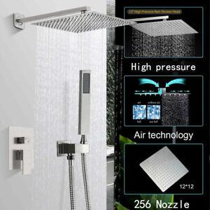 "12"" Rain Square Shower Head Brushed Nickel Faucet Set Handheld Shower with Valve"