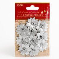 Poinsettias Metallic Silver Xmas Christmas Embellishments 10 Pack XM016
