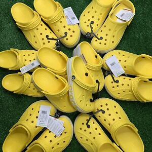 Crocs Bayaband Lemon Yellow Clogs Slip On Classics Slide Sandals 205089-7B0 New