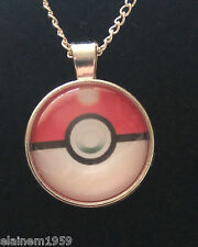 "Pokemon pokeball Cabachon glass dome Necklace Pendant.20"" chain"