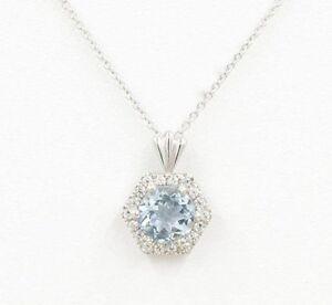 Hexagon Halo Diamond 7mm Aquamarine Slide Pendant 14k White Rolo Chain Necklace