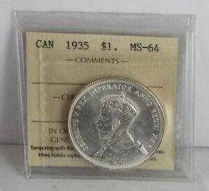 Canada 1935 George V Silver Dollar  ICCS MS-64   #210159