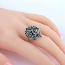 Antique Silver Hedgehog Lucky Rings for Women Wedding Party Jewelry