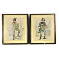 Pair Pickwick Papers Drawings Illustrations Charles Dickens Pictures Framed Vtg