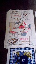 VINTAGE RETRO TOWELLING TEA TOWELS X  SIX MID CENTURY