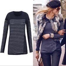CAbi Style 3367 Regiment Stripe Navy Long Sleeve Sweater Size S Scoop Neck Knit