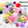 50X Resin Beads Rose Flower Flat Back Embellishment FOR DIY Phone/Nails/Keychain