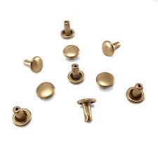 Solid raw brass double cap rivets 6 mm cap diameter Studs Leather craft rapid