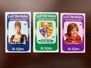 "St Kitts 1982 Scott #96-98 ""Royal Baby"" Princess Diana 21st Birthday Mint VFNH"