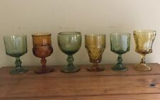 Vintage Green Gold Yellow Autumn Fall Glasses Goblets Wine Lot Mismatched Set 6