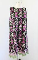 Tahari ASL Levine Floral Embroidered Mesh Shift Dress Size 12 Black Pink Green