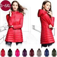 Women's Hooded Long Jacket White Duck Down Ultra Light Slim Solid Coat Overcoat