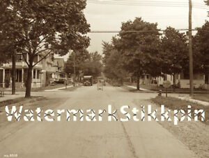 1930s photo Negative STREET SCENE Delivery Truck Car ROAD WORK Binghamton NY
