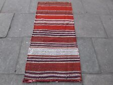 Old Traditional Hand Made Persian Oriental Wool Orange kilim Runner 167x77cm