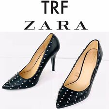 Zara Trafaluc Black Leather Pointy Stiletto Stud High Heel Pumps Shoes 41 EU