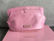 Brand New Prada Candy Pink Cosmetic Make Up Bag Party Clutch Pouch New in Box