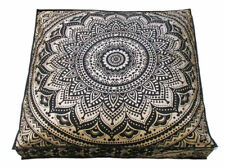 """35"""" INDIAN Square GOLD MANDALA Cushion Floor Pillow Case Seating Cover Ottoman"""