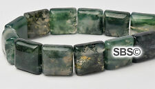 Green Moss Agate 10x10mm 2-Hole Square Stone Beads (approx. 16 inch strand)