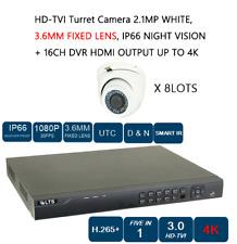 8 LOT HD-TVI Turret Camera 2.1MP, 3.6MM FIXED LENS, NIGHT VISION + 16CH DVR CCTV