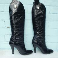 DOLCE & GABBANA Patent Leather Boots Size UK 5 Eur 38 Womens Pull on Black Boots