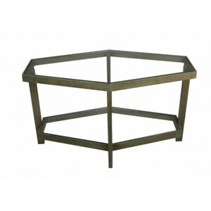 """32"""" W Hexagon Coffee Table Glass Surfaces Modern Recycled Hardwood Frame"""