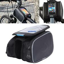 Top Saddle Cycling Bike Front Frame Pannier Case Double Pouch Phone Holder Bag