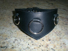 Genuine Leather Collar, Black V Front Leather Collar, O Ring Hand crafted Gothic