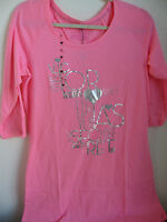 VICTORIA'S SECRET The Angel Sleep Tee 3/4 SLEEVE Pink with BLING Small NWT New
