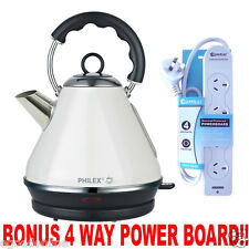 CREAM Stainless Steel Kettle 60's Cordless Retro 1.7L, CREAM COLOUR+Powerboard