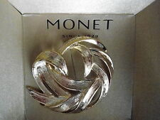 NEW MONET BROOCH / PIN WITH LOVELY  TEXTURED GOLDTONE  SWIRL
