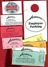 AutoWorld Theme Park Flint Michigan Ticket & Pass Collection Of 9 Vintage Items