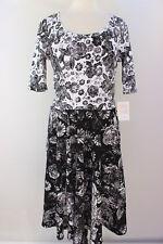 Medium LuLaRoe Noir & Blanc Nicole Dress Beautiful White Black Flowers NWT 15