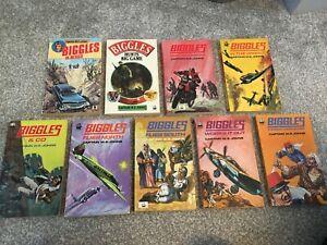 Biggles Paperback books x9 Vintage Armada WE Johns MEXICO GAME DEFIES WORKS ETC