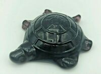 "Vintage Art Glass Turtle Figurine 2-7/8"" Long Dark Purple Amethyst Boyd 3rd Gen"