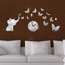 Elephants play Butterfly Mirror Wall Clock Home Room DIY Art Decoration Sticker