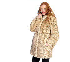 Pamela McCoy Taupe Mini Leopard Hooded Faux Fur Coat Sz XS - NEW!