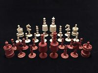 19th C Barleycorn Chess Set With Fitted Box And Board