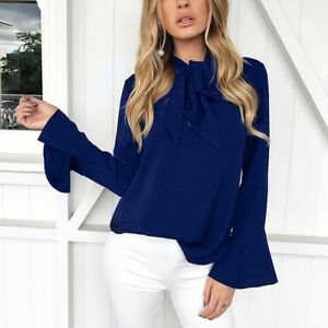 Elegant Womens Ladies Flare Bell Sleeve Top Casual Blouse Pussy-bow OL T-shirt