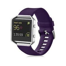 For Fitbit Blaze Watch 2016 Slim Silicone Leather Stainless Wrist Strap Bracelet