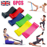 Set of 6 Level Resistance Exercise Loop Bands Home Gym Fitness Natural Latex UK