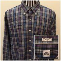 Peter Millar Men's 2XL Long Sleeve Button Front Plaid Shirt 100% Cotton